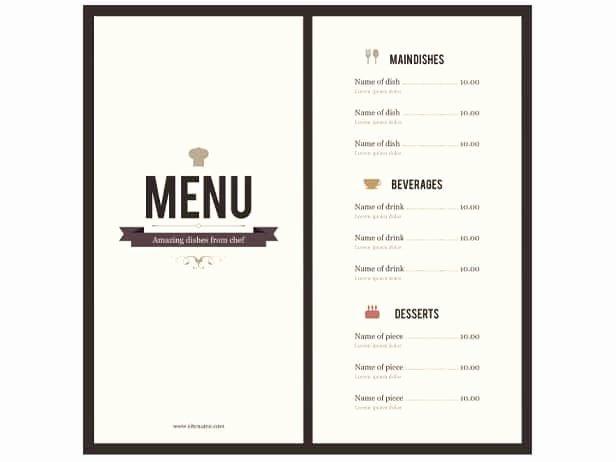 Restaurant Menu Template Word Awesome 8 Menu Templates Excel Pdf formats