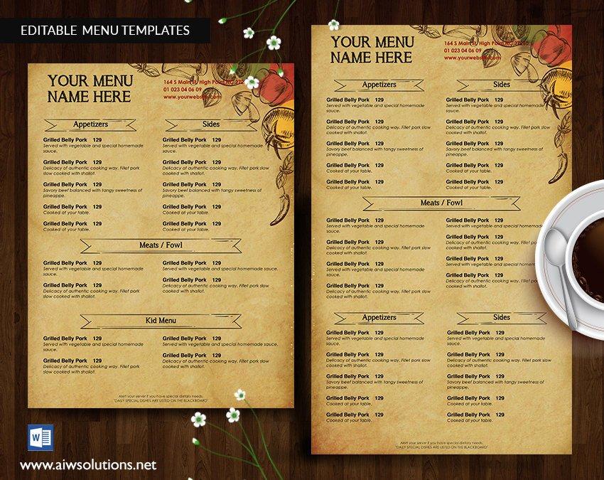 Restaurant Menu Template Word Fresh Design & Templates Menu Templates Wedding Menu Food