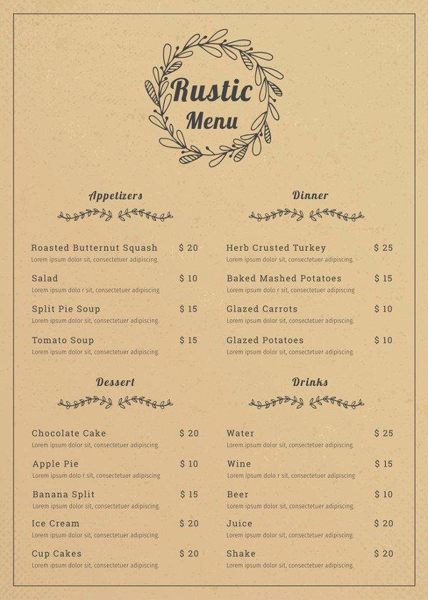 Restaurant Menu Template Word Inspirational 28 Restaurant Menu Templates Psd Docs Pages