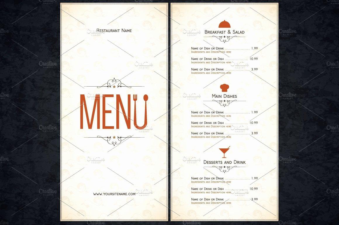 Restaurant Menu Template Word Inspirational Restaurant Menu Template Card Templates Creative Market
