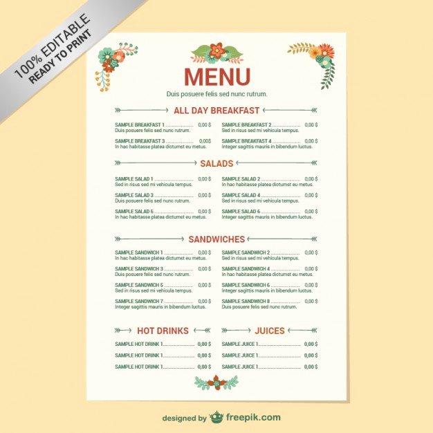 Restaurant Menu Template Word Lovely Editable Restaurant Menu Template Vector