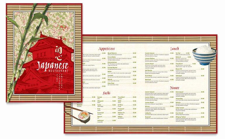 Restaurant Menu Template Word Lovely Japanese Restaurant Menu Template Word & Publisher