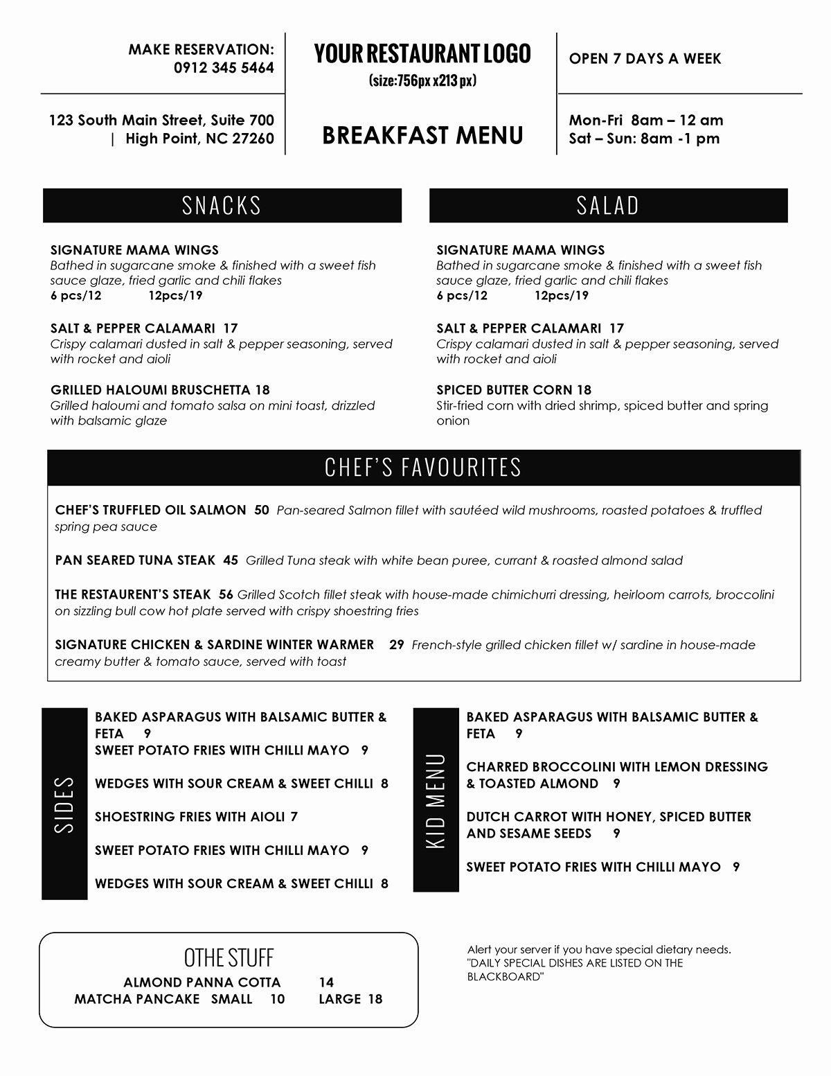 Restaurant Menu Template Word New Design & Templates Menu Templates Wedding Menu Food
