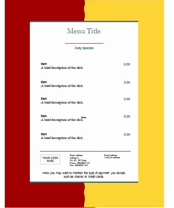 Restaurant Menu Template Word Unique Free Restaurant Menu Templates Microsoft Word Templates