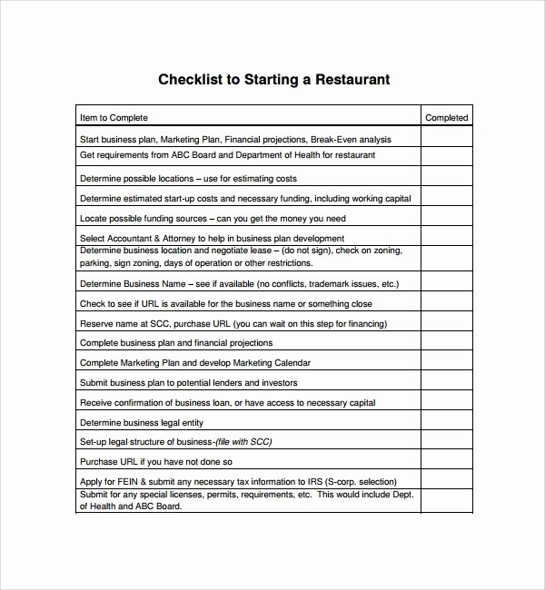 Restaurant Opening Checklist Template Awesome Sample Restaurant Checklist Template 25 Free Documents