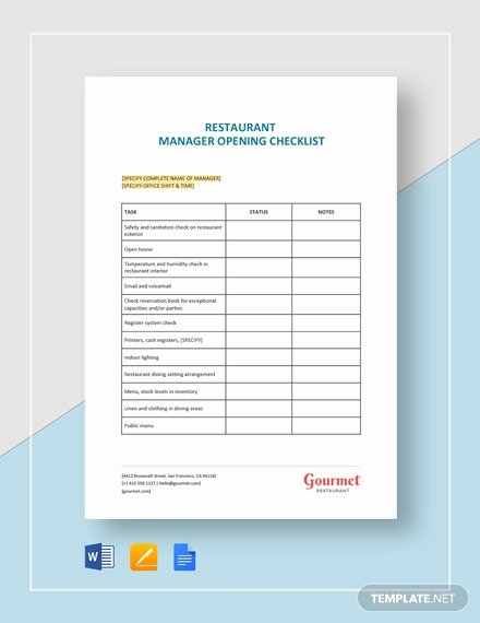 Restaurant Opening Checklist Template Best Of Restaurant Manager Log Template Download 345 Sheets In