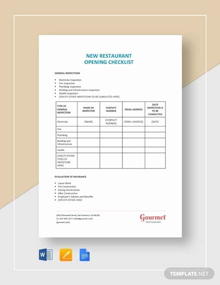 Restaurant Opening Checklist Template Inspirational Sample Restaurant Checklist Template 25 Free Documents