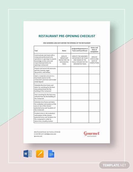 Restaurant Opening Checklist Template Lovely New Restaurant Opening Checklist Template Download 131