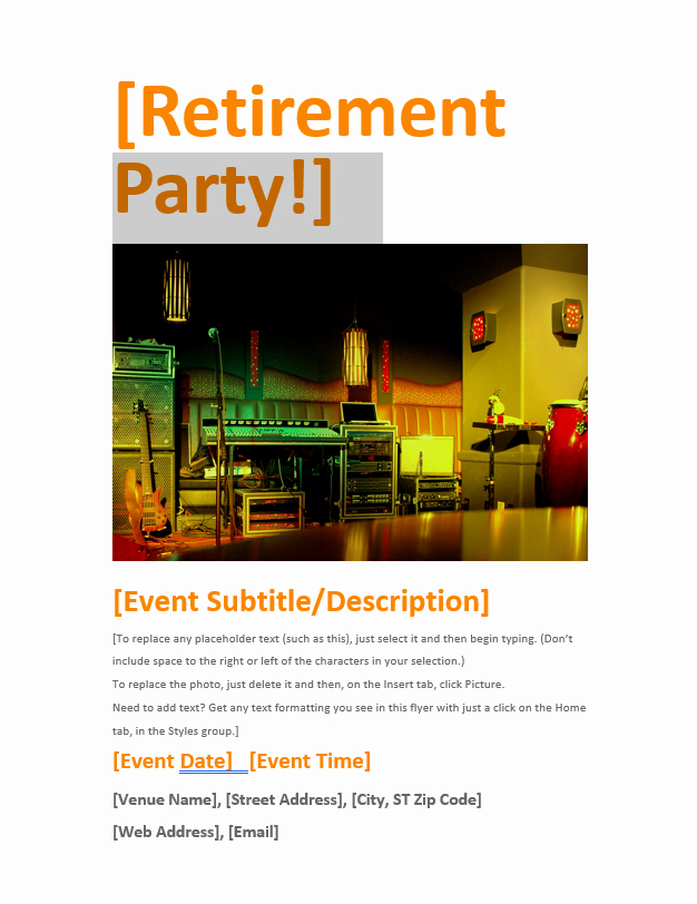 retirement flyer template