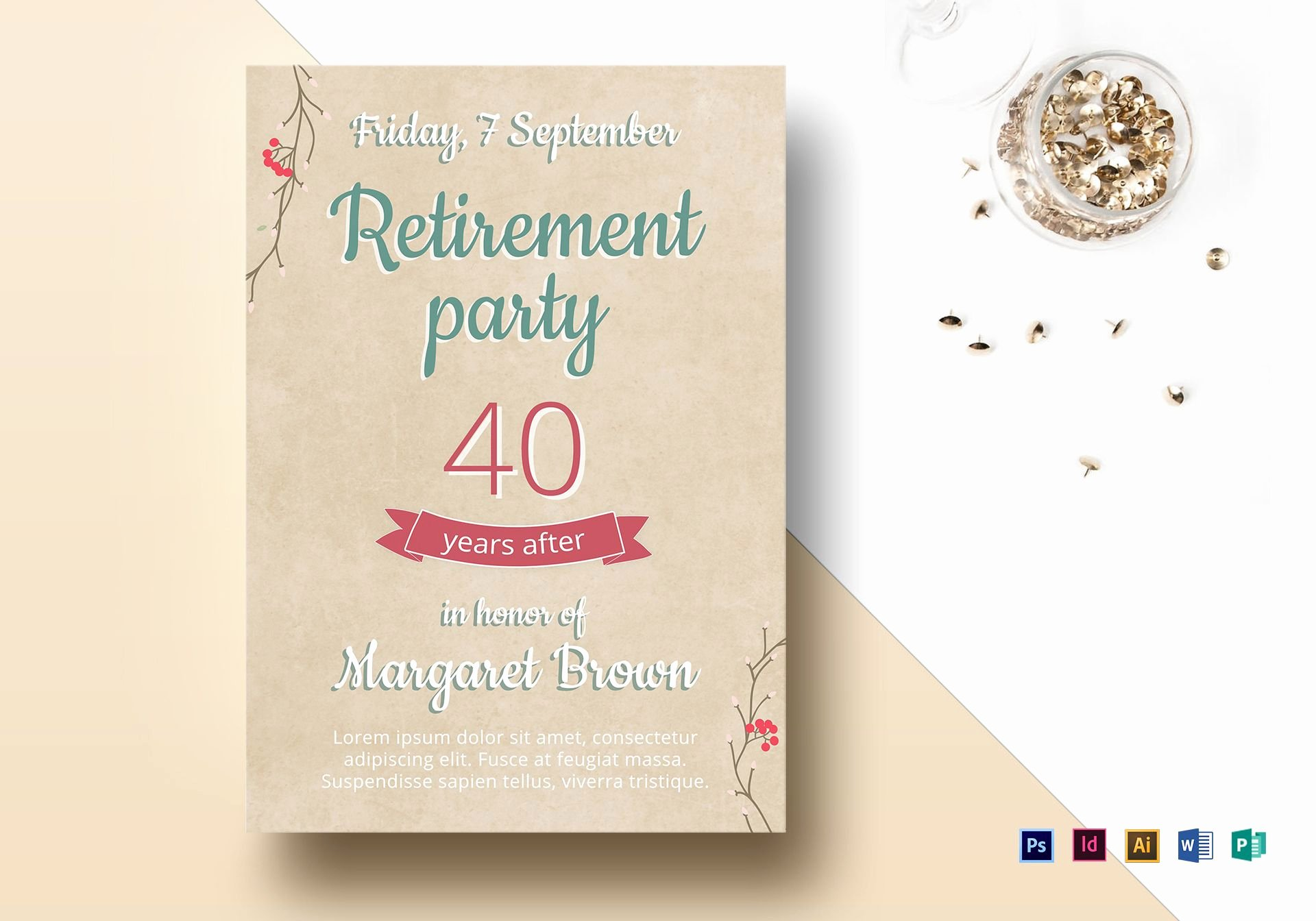 Retirement Flyer Free Template Unique Retirement Party Flyer Design Template In Psd Word