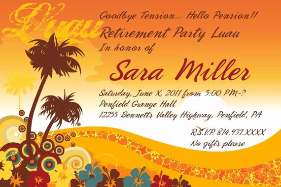Retirement Party Flyer Template Awesome Items Similar to Luau Retirement Party Invitation On Etsy