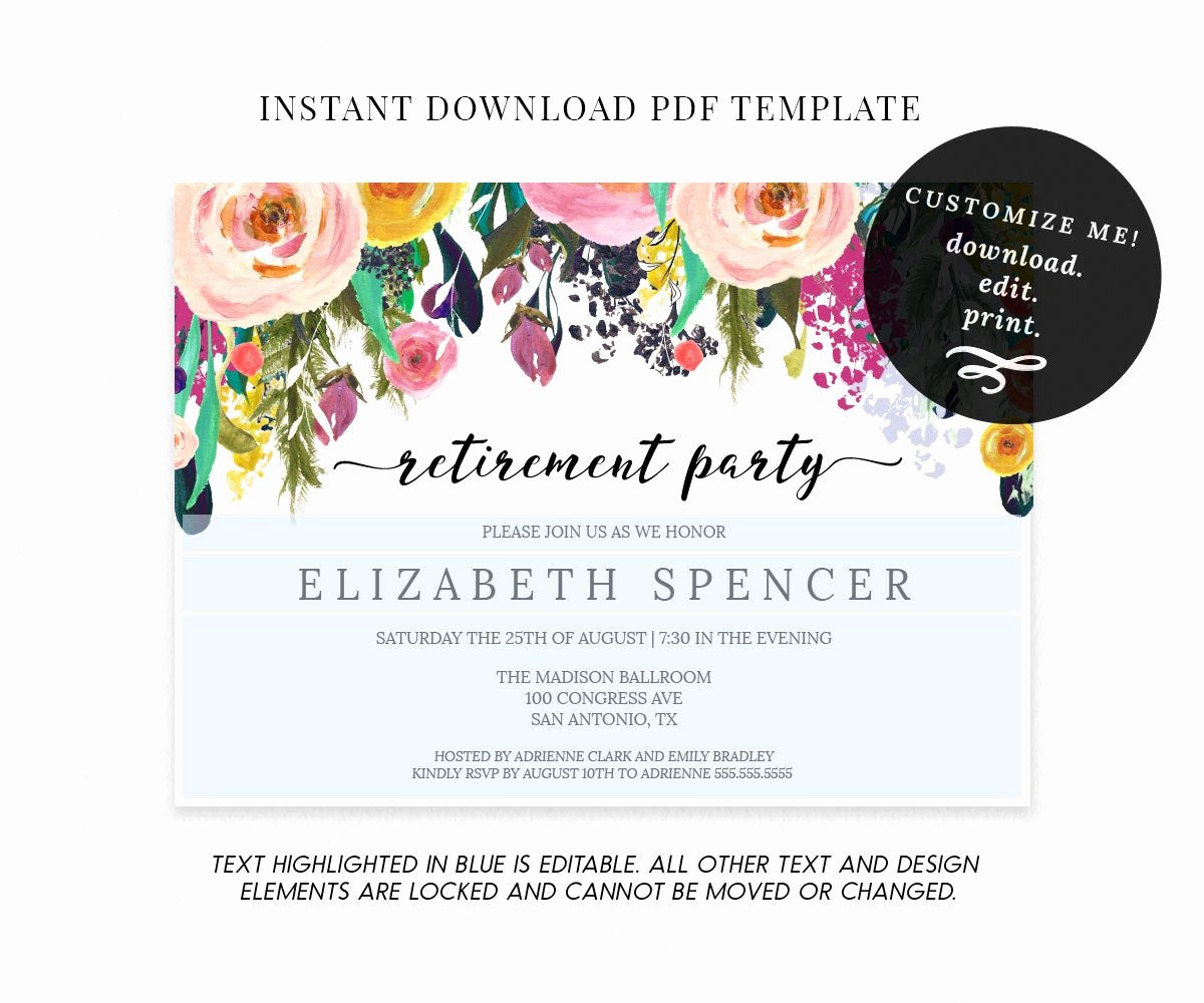 Retirement Party Flyer Template Fresh Editable Floral Retirement Party Invitation Template