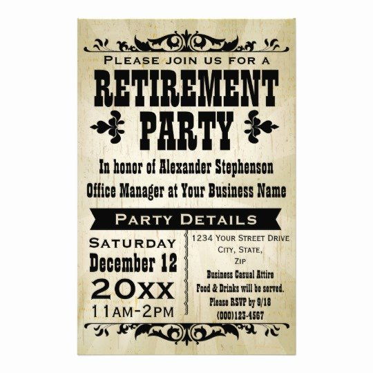 Retirement Party Flyer Template Inspirational Custom Vintage Country Retirement Party Invitation Flyer
