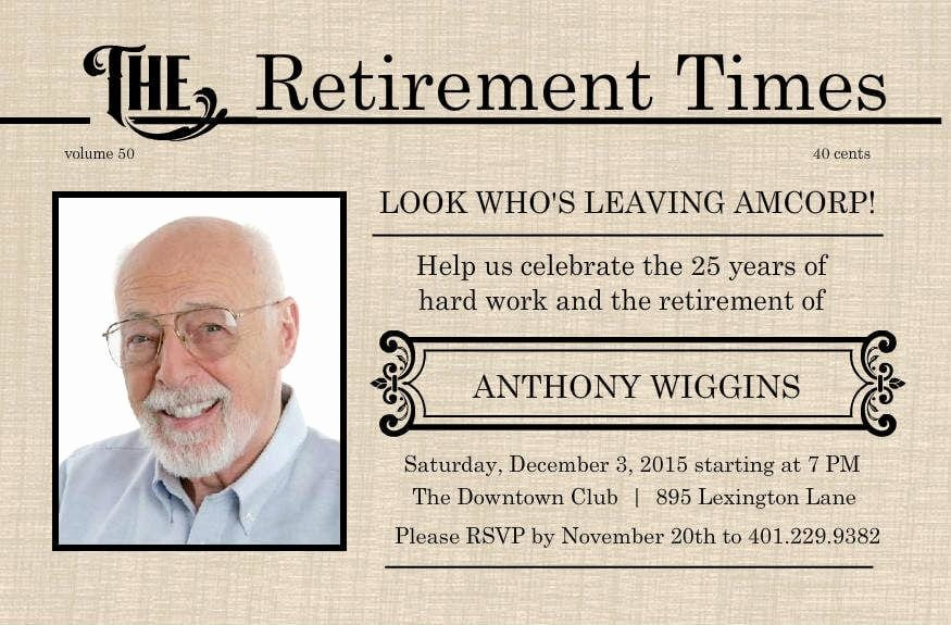 Retirement Party Flyer Template Lovely Free Retirement Invitations Printable