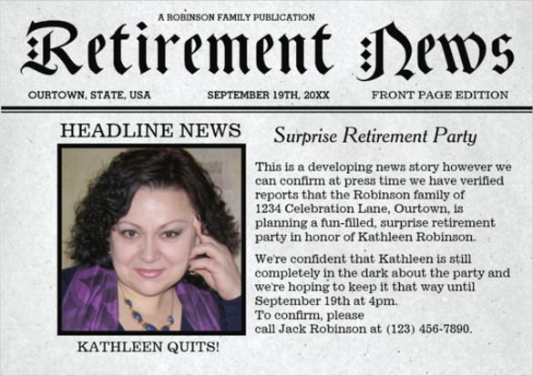 Retirement Party Flyer Template Luxury 9 Newspaper Front Page Template Free Word Ppt Eps