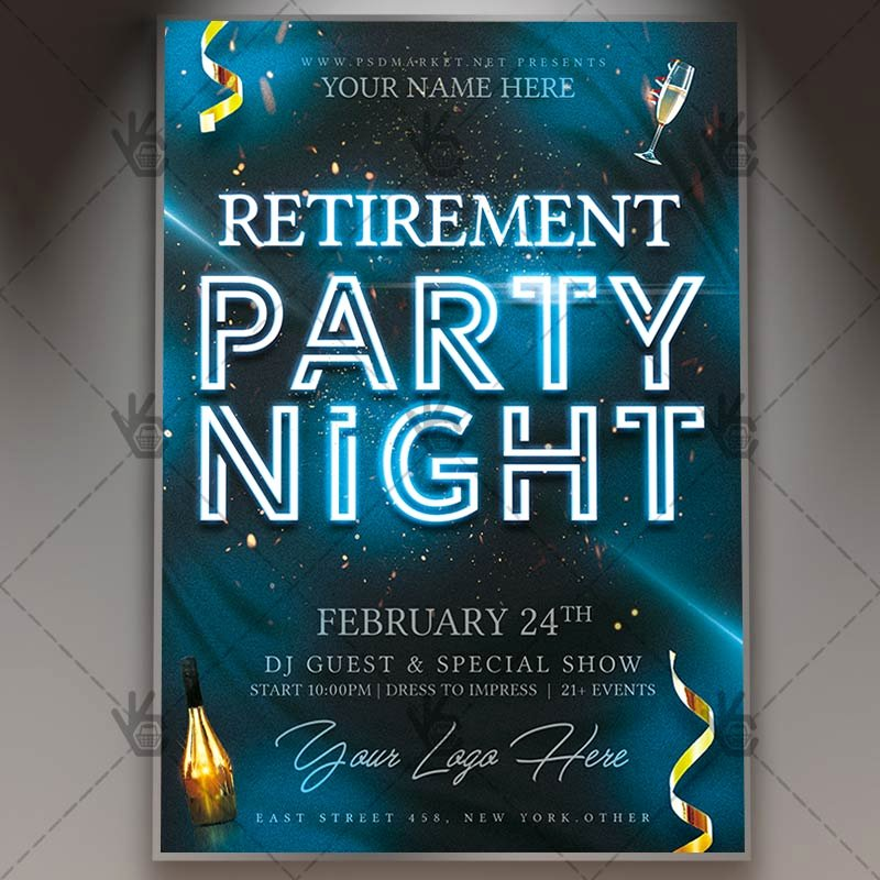 Retirement Party Flyer Template New Retirement Party Night Flyer Psd Template