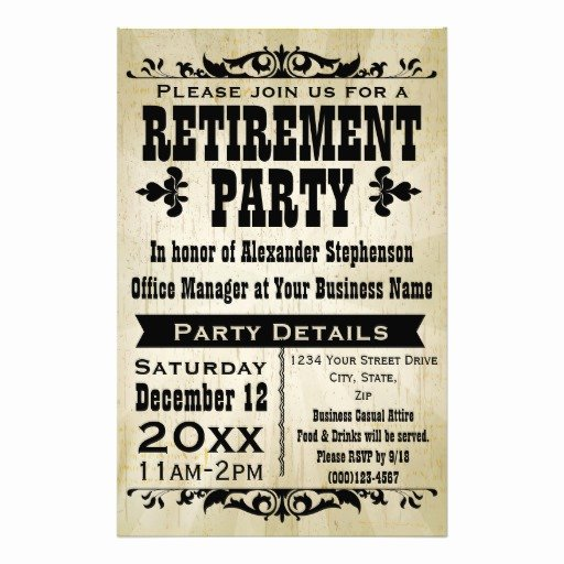 Retirement Party Flyer Templates Free Fresh Custom Vintage Country Retirement Party Invitation Flyer