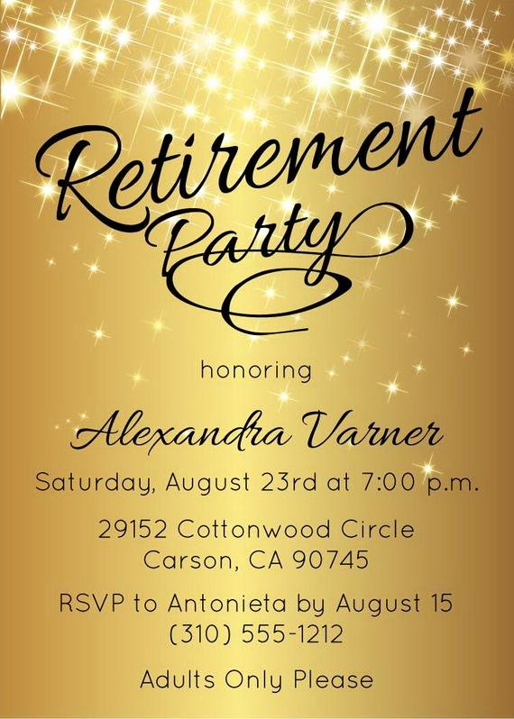 Retirement Party Flyer Templates Free Inspirational Retirement Party Invitation Gold Sparkly by Announceitfavors