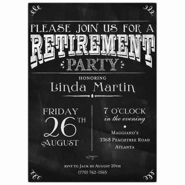 Retirement Party Invitation Templates Beautiful Chalkboard Black Retirement Party Invitations