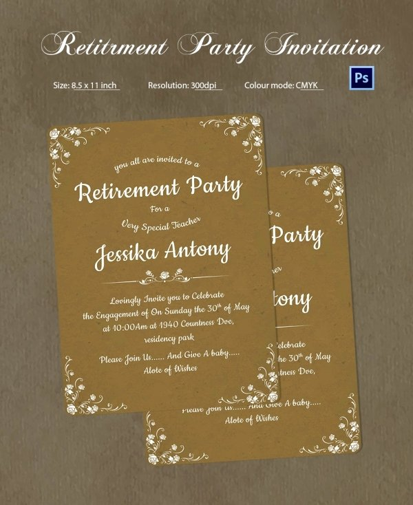 Retirement Party Invitation Templates Inspirational Retirement Party Invitation Template 36 Free Psd format