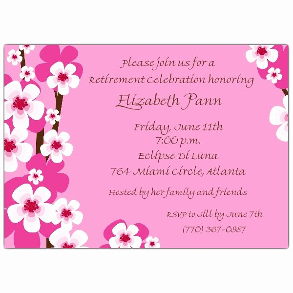 Retirement Party Invitation Templates Luxury Cherry Blossoms Pink Retirement Invitations