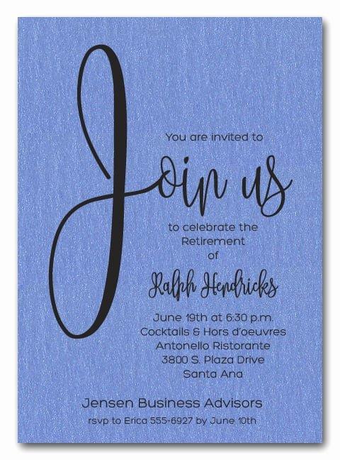Retirement Party Invitation Templates Luxury Shimmery Blue Join Us Retirement Party Invitations