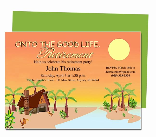 Retirement Party Invitation Templates Unique Retirement Templates Tropicana to the Good Life