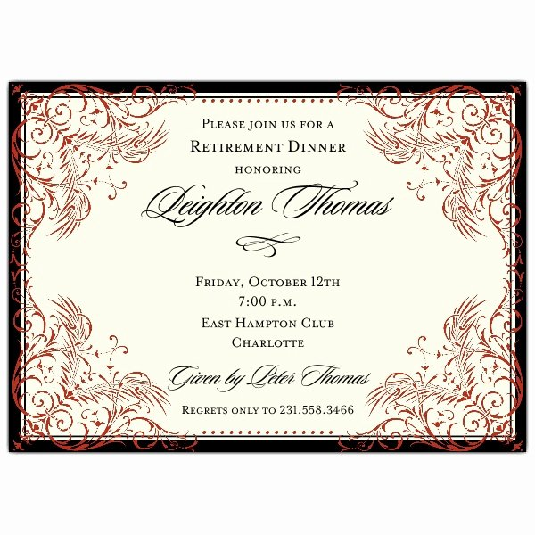 Retirement Party Invitations Templates Best Of Black and Red Elegant Border Retirement Invitations