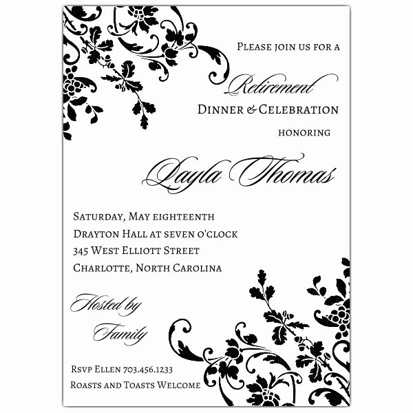 Retirement Party Invitations Templates Elegant Floral Stripe Retirement Invitations