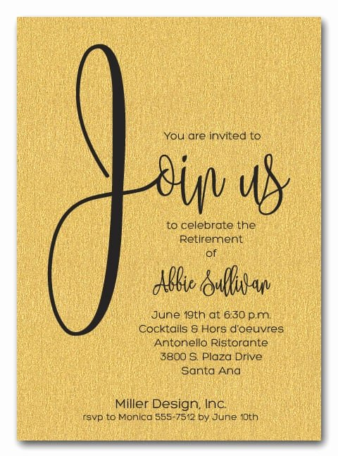 Retirement Party Invitations Templates Elegant Shimmery Gold Join Us Retirement Party Invitations