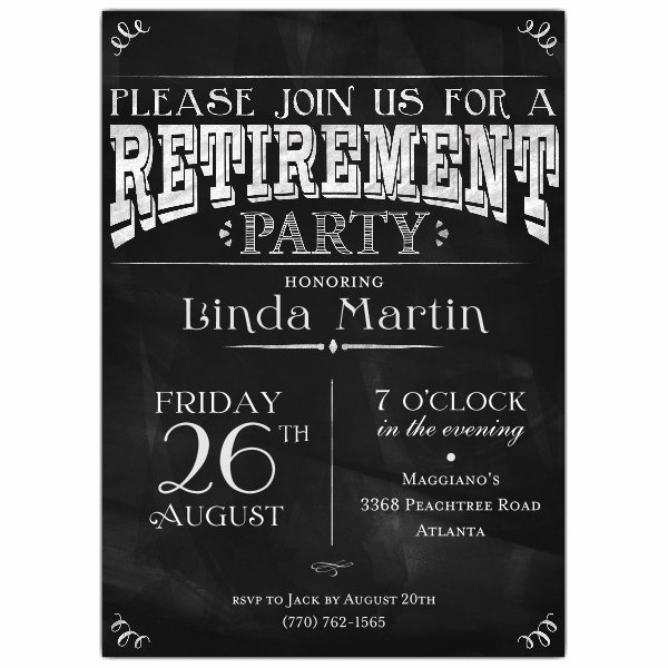 Retirement Party Invitations Templates Fresh Chalkboard Black Retirement Party Invitations