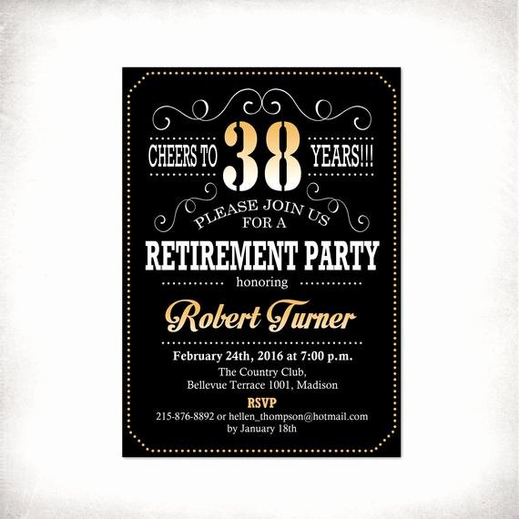 Retirement Party Invitations Templates Inspirational Retirement Party Invitation Black Gold Digital Printable