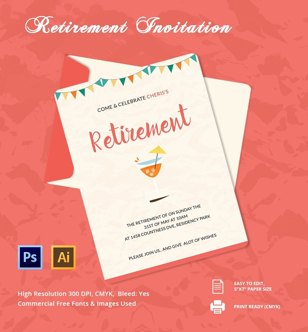 Retirement Party Invitations Templates Luxury 25 Retirement Invitation Templates Psd Vector Eps Ai