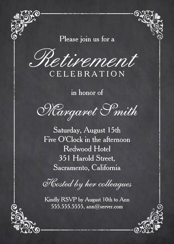 Retirement Party Invitations Templates New Elegant Chalkboard Retirement Party Invitation Template