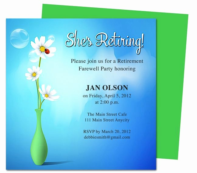 Retirement Party Invitations Templates New Printable Diy Vase Retirement Party Invitations Templates