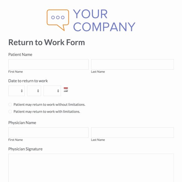 Return to Work form Template Awesome Printable Doctor Note