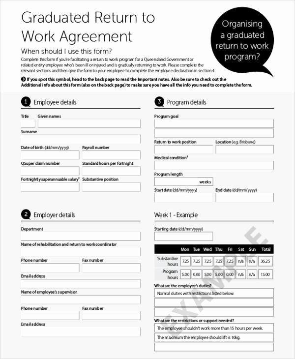 Return to Work form Template Beautiful 45 Printable Agreement forms Word Pdf