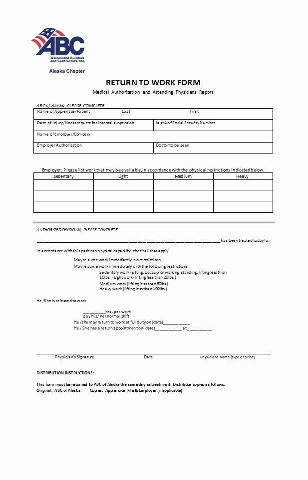 Return to Work form Template Best Of 49 Best Return to Work [& Work Release forms] Template Lab