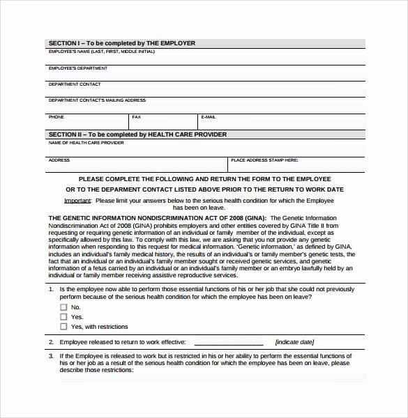 Return to Work form Template Fresh 16 Return to Work Medical form Templates Pdf Word