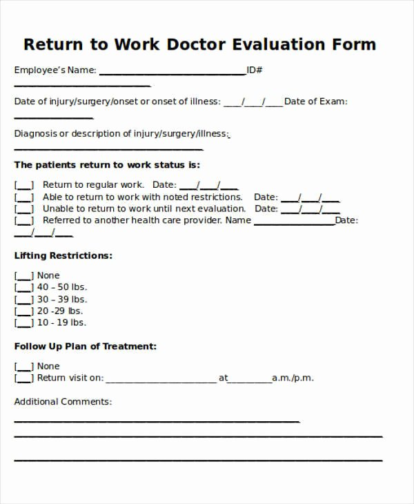 Return to Work form Template New Return to Work Note Sample 6 Examples In Word Pdf