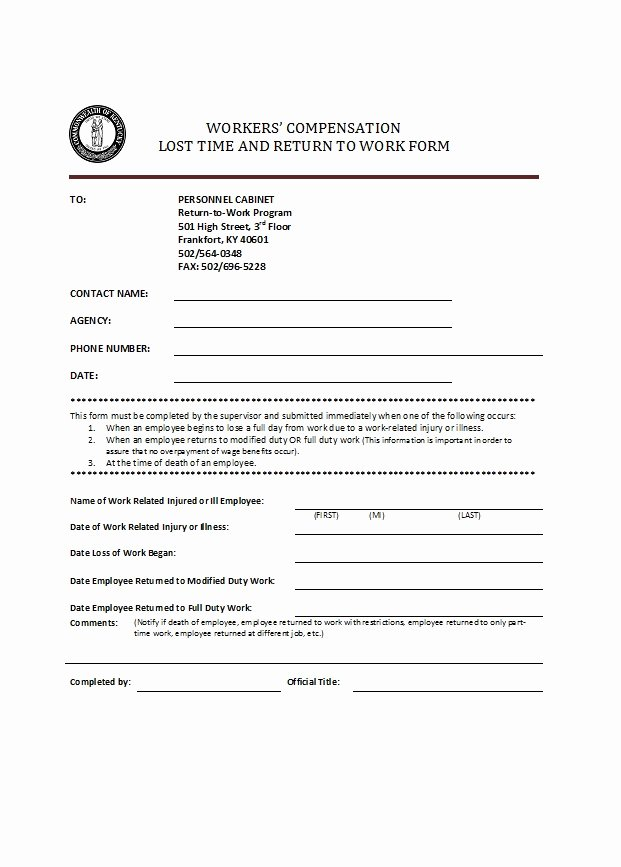 Return to Work form Template Unique 49 Best Return to Work [& Work Release forms] Template Lab
