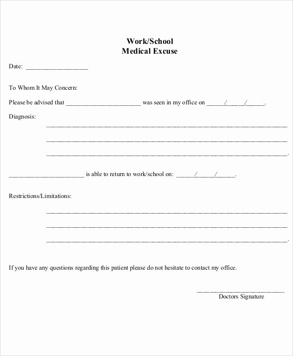 Return to Work Note Template Awesome 37 Free Doctors Note Templates