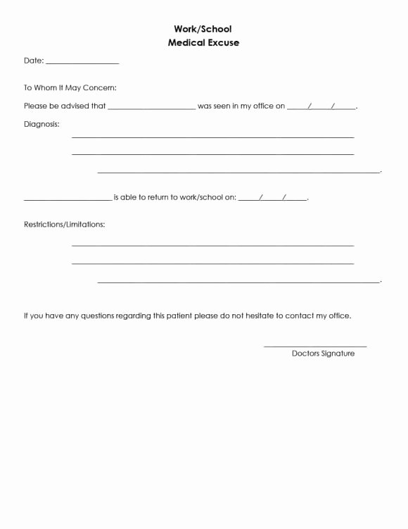 Return to Work Note Template Awesome 42 Fake Doctor S Note Templates for School & Work