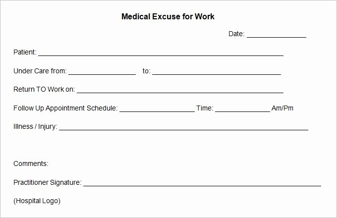 Return to Work Note Template Awesome Doctors Excuse Template