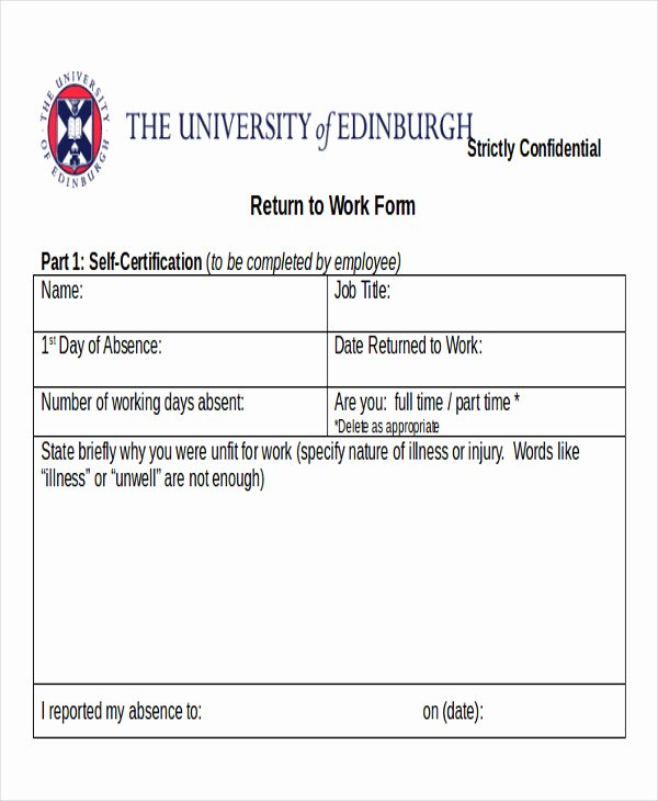 Return to Work Note Template Awesome Return to Work Note Sample 6 Examples In Word Pdf