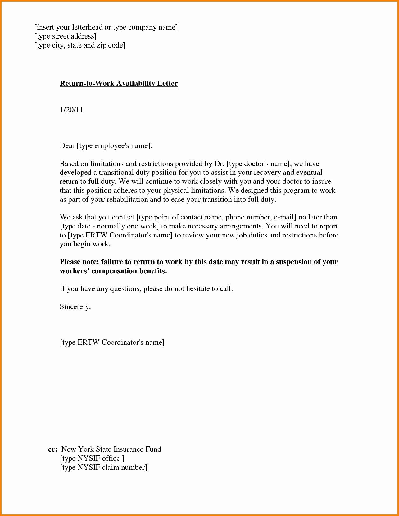 Return to Work Note Template Beautiful Return to Work with Restrictions Letter