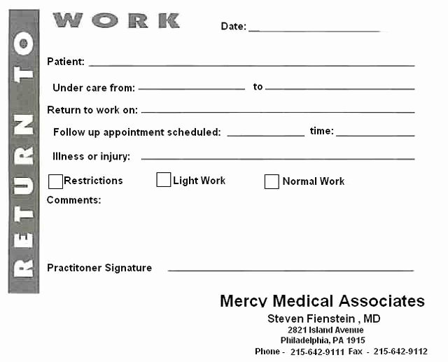 Return to Work Note Template Fresh 8 Best Of Blank Printable Doctor Note Pdf Fake