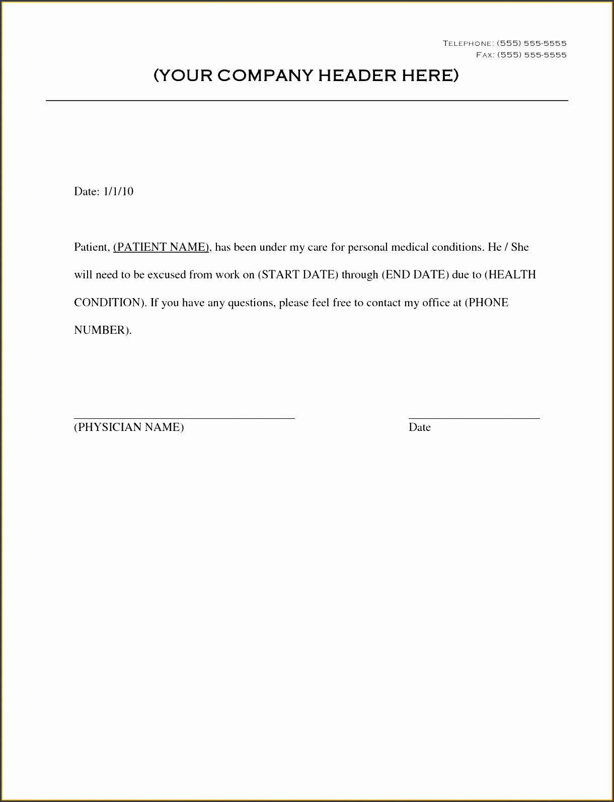Return to Work Note Template Inspirational 9 Doctor Note Template for Business Sampletemplatess