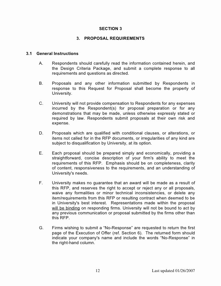 Rfp Response Template Word Best Of Construction Rfp Templatecc