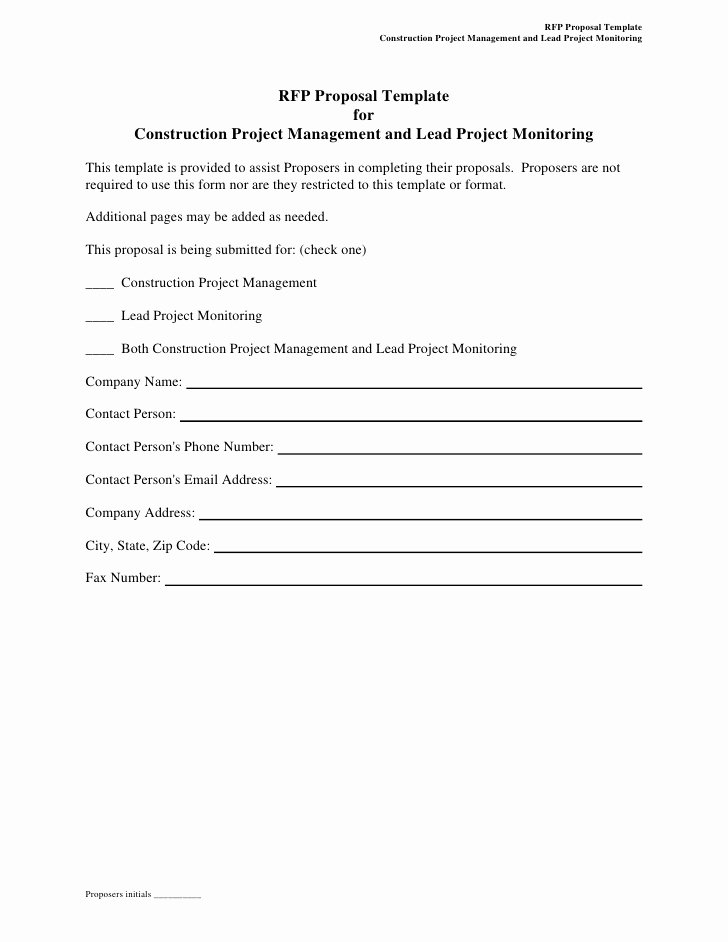 Rfp Response Template Word Inspirational Rfp Proposal Template for Construction Project Management